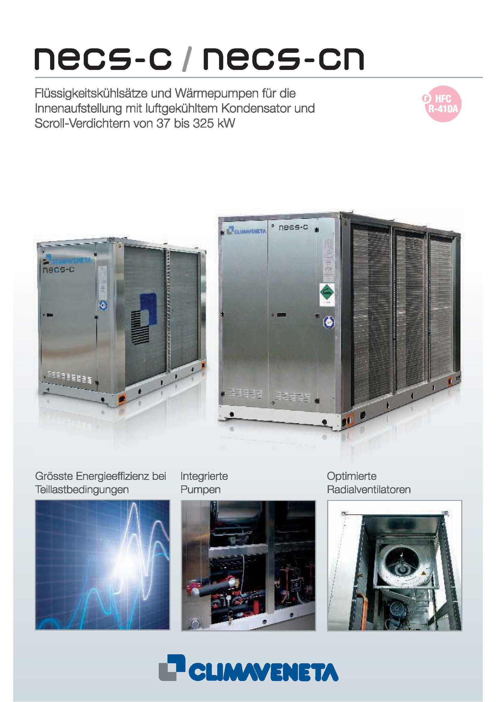 Flüssigkeitskühlsätze und Wärmepumpen für die Innenaufstellung mit luftgekühltem Kondensator und Scroll-Verdichtern