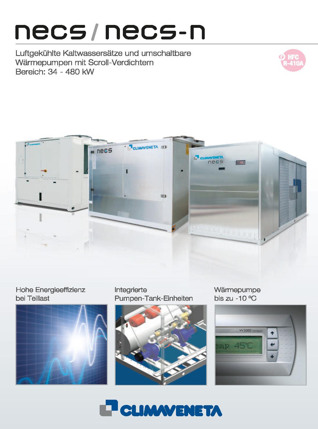 Luftgekühlte Kaltwassersätze und umschaltbare Wärmepumpen mit Scroll-Verdichtern