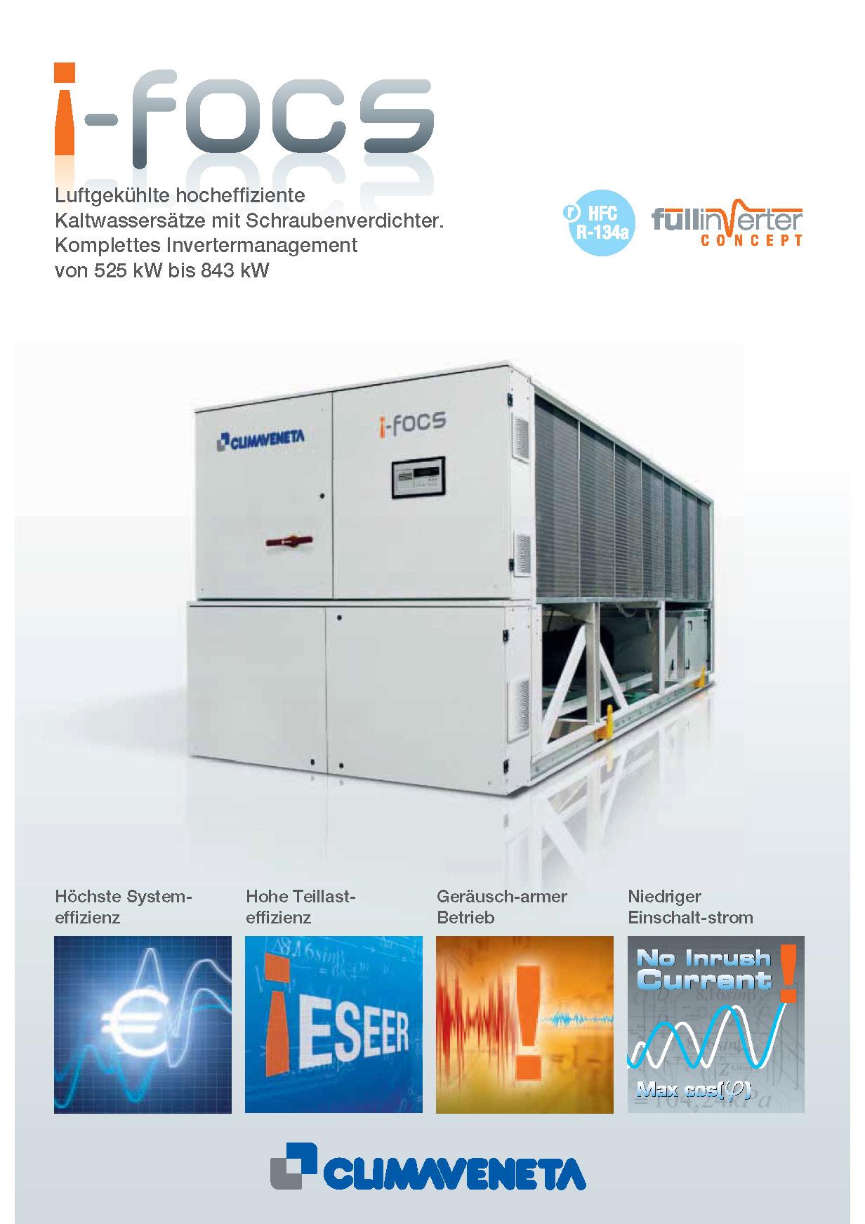 Luftgekühlte hocheffiziente Kaltwassersätze mit Inverter-geregelten Schraubenverdichter.