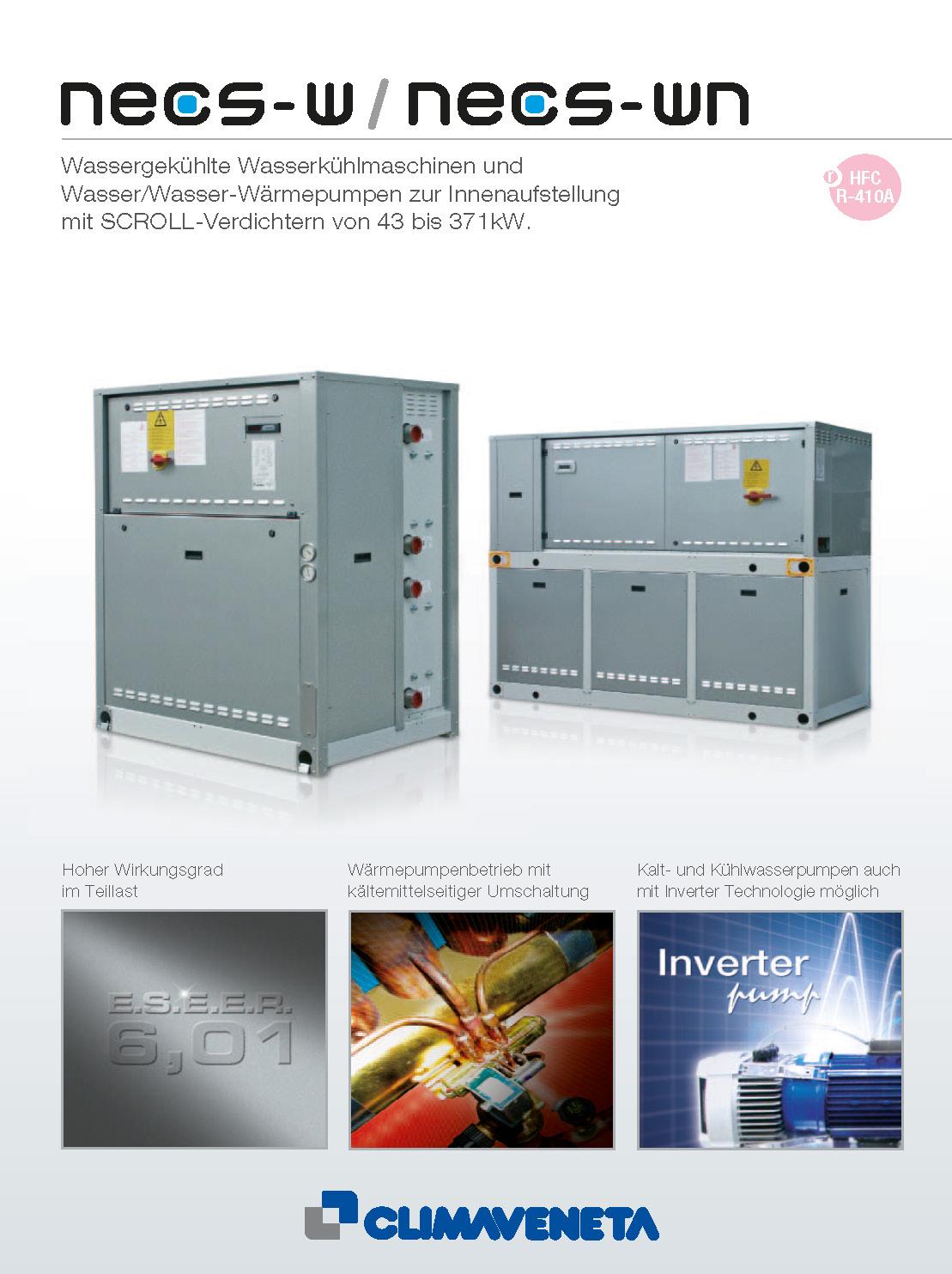 Wassergekühlte Wasserkühlmaschinen und Wasser/Wasser-Wärmepumpen zur Innenaufstellung mit SCROLL-Verdichtern
