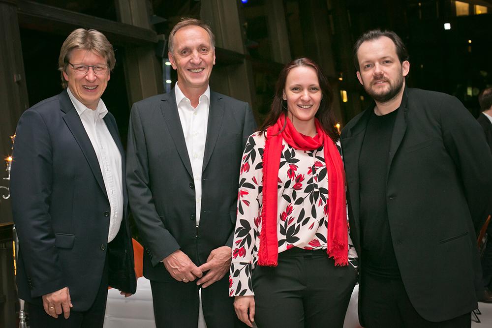 Prof. Andreas Schulz, Johannes Hannemann, Juliane Hannemann, Andris Nelsons (v.l.) (c) Gert Mothes